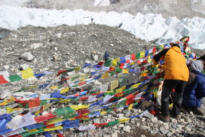 Putting Up Prayer Flags at Everest Base Camp