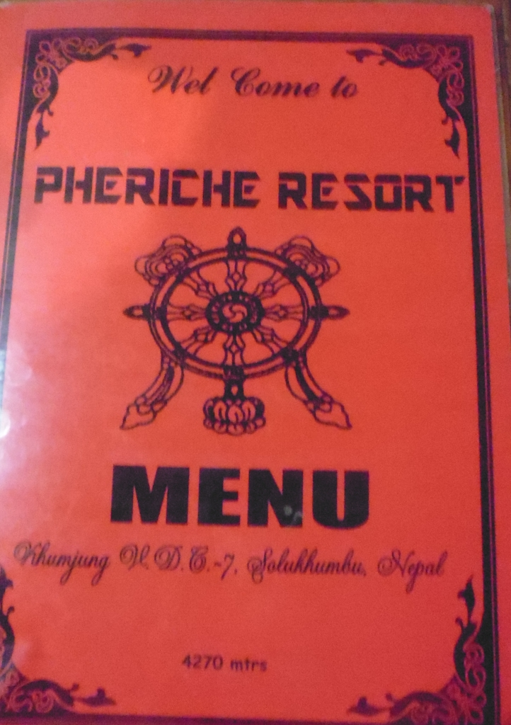 Pheriche Resort Menu