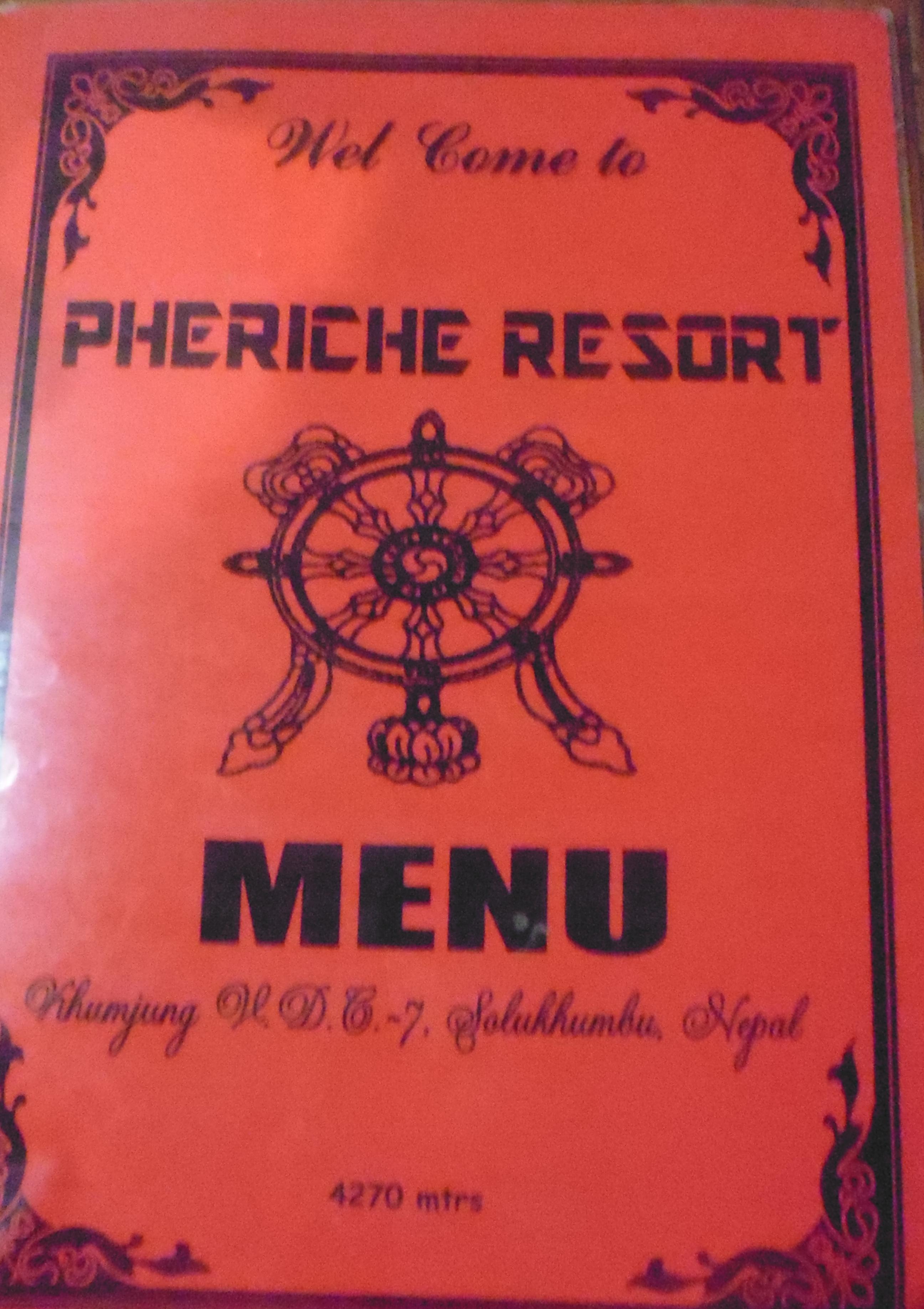 Pheriche Resort Menu