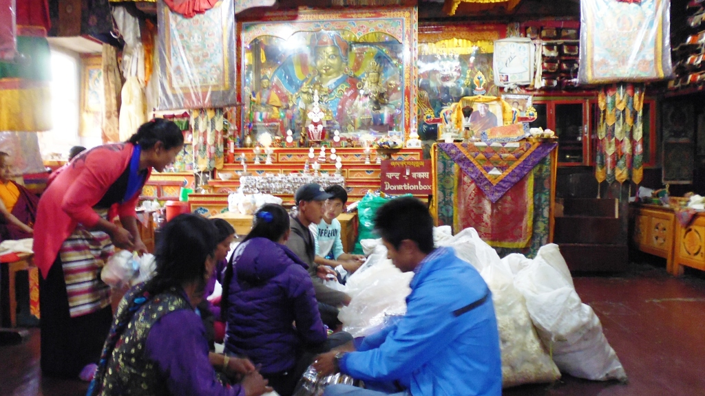 Packing Bags for Gifts at Thaktul Monastery