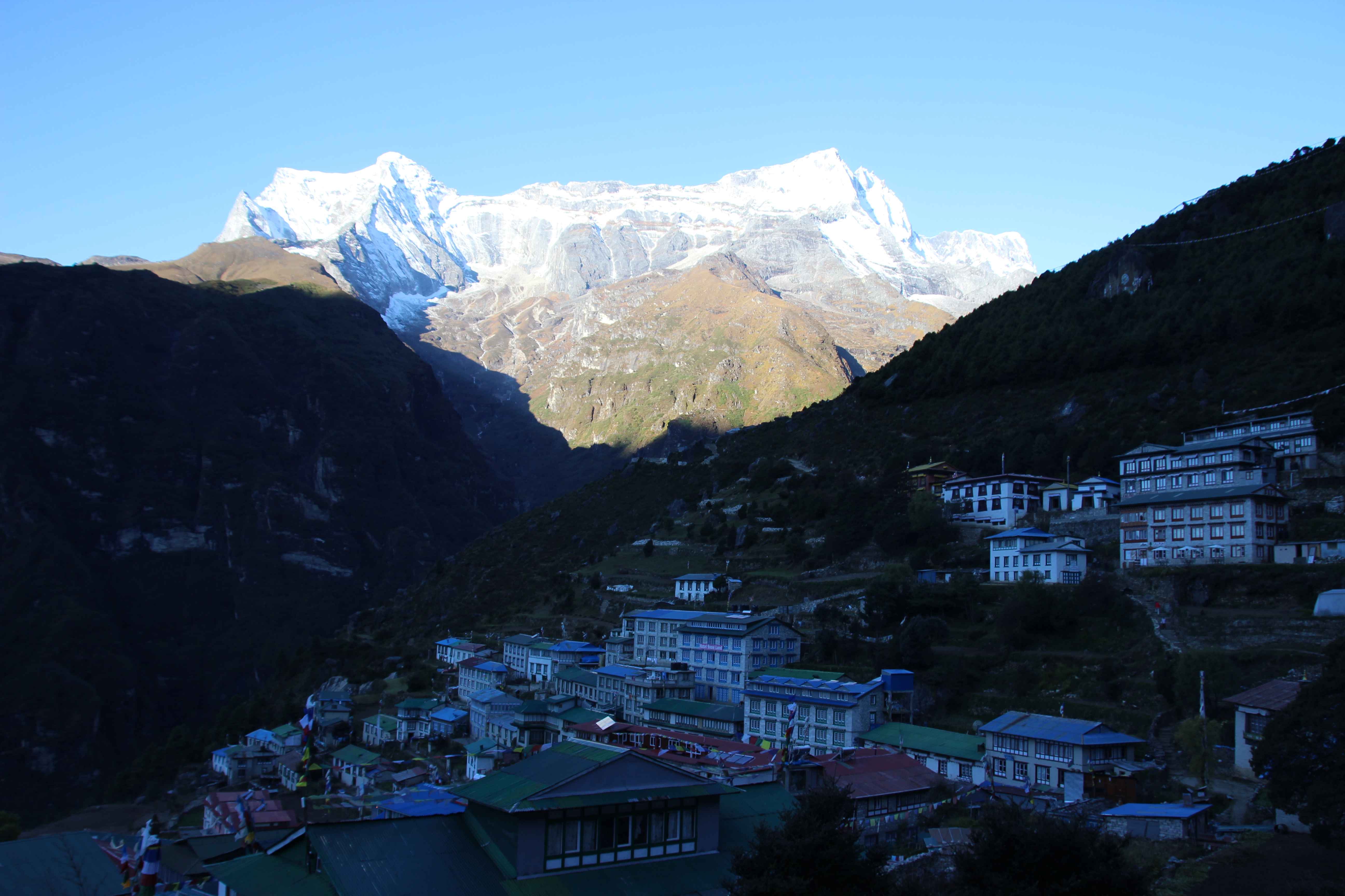 Morning Over Namche from Lodge Room