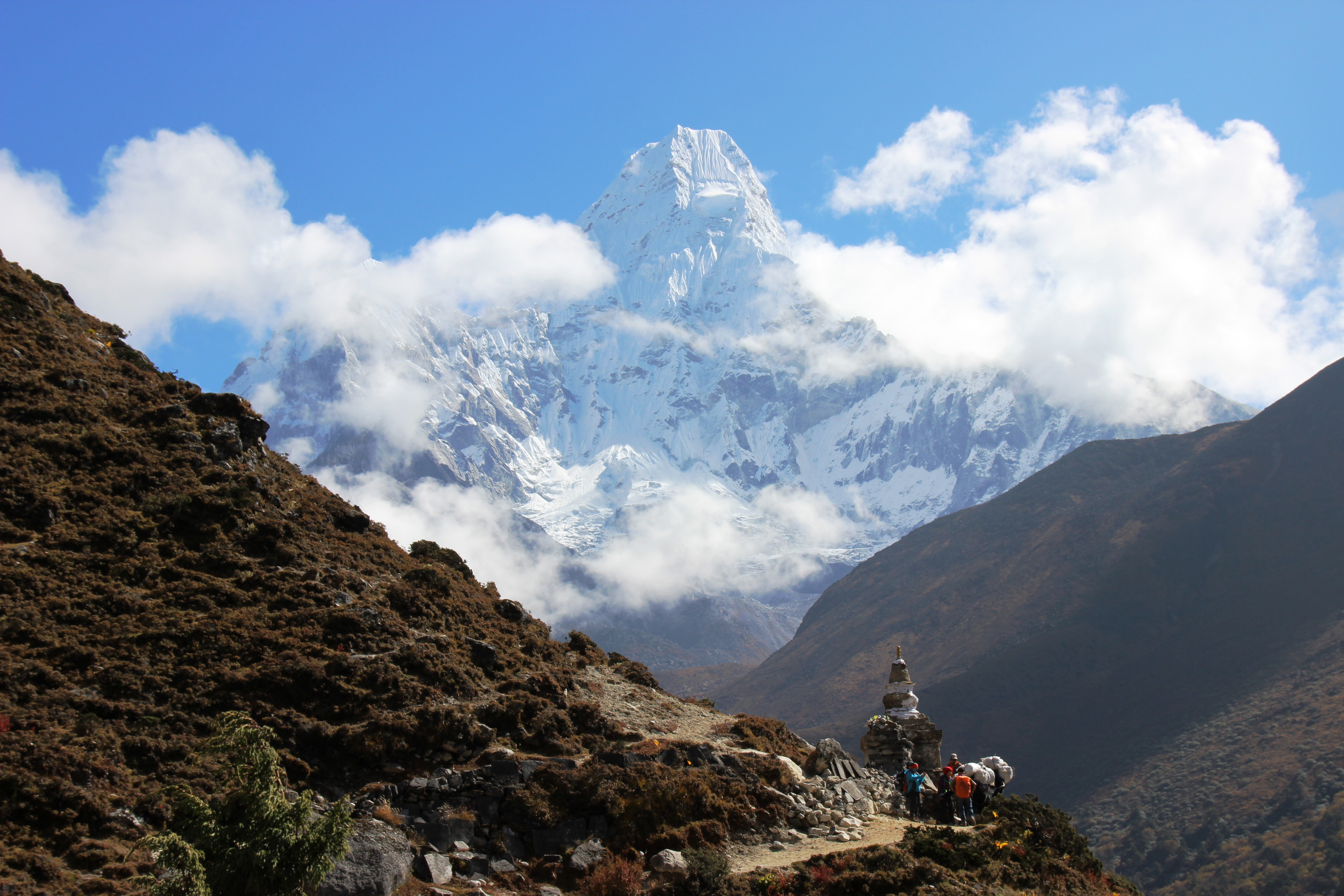 Trail with Stupa - Mountain Background